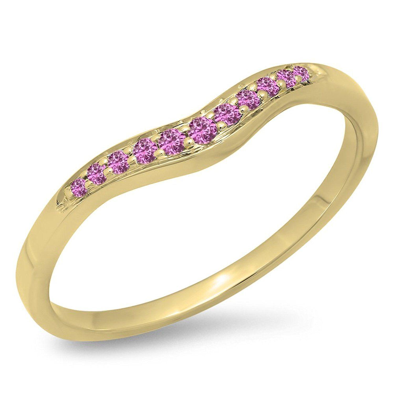 011 Carat ctw 14K Gold Round Pink Sapphire Ladies Anniversary