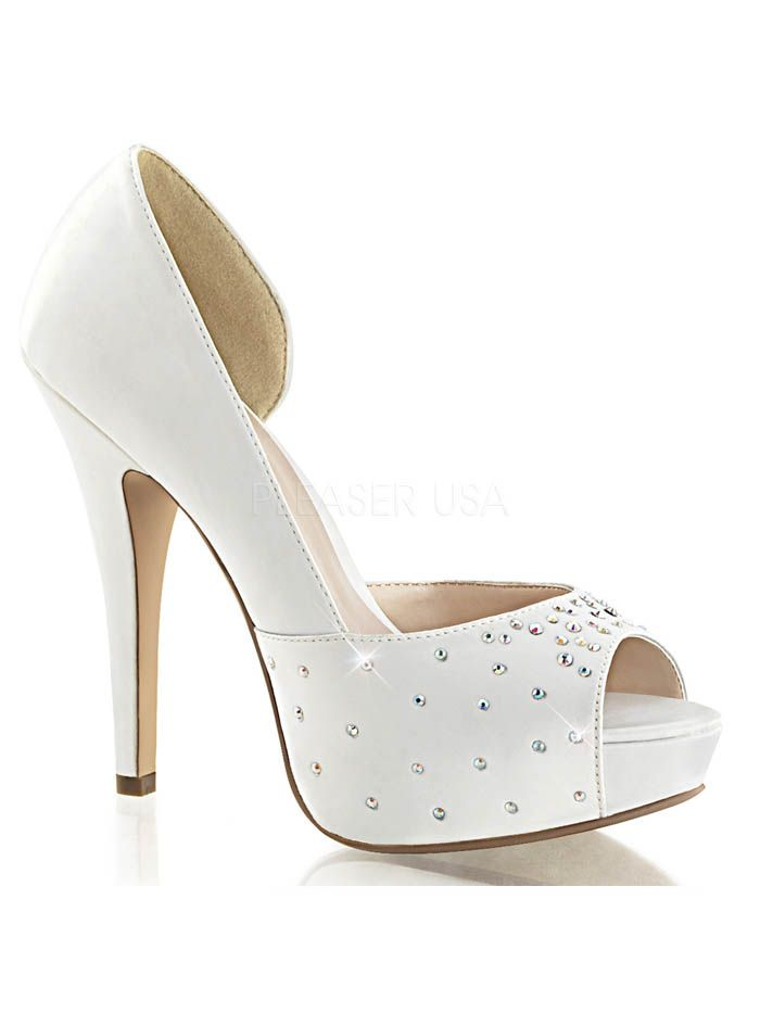 a971f28e3efc White Satin Dorsay Style Peep Toe Platform Heels  weddingshoes  bridalshoes   pinupshoes  bluevelvetvintage