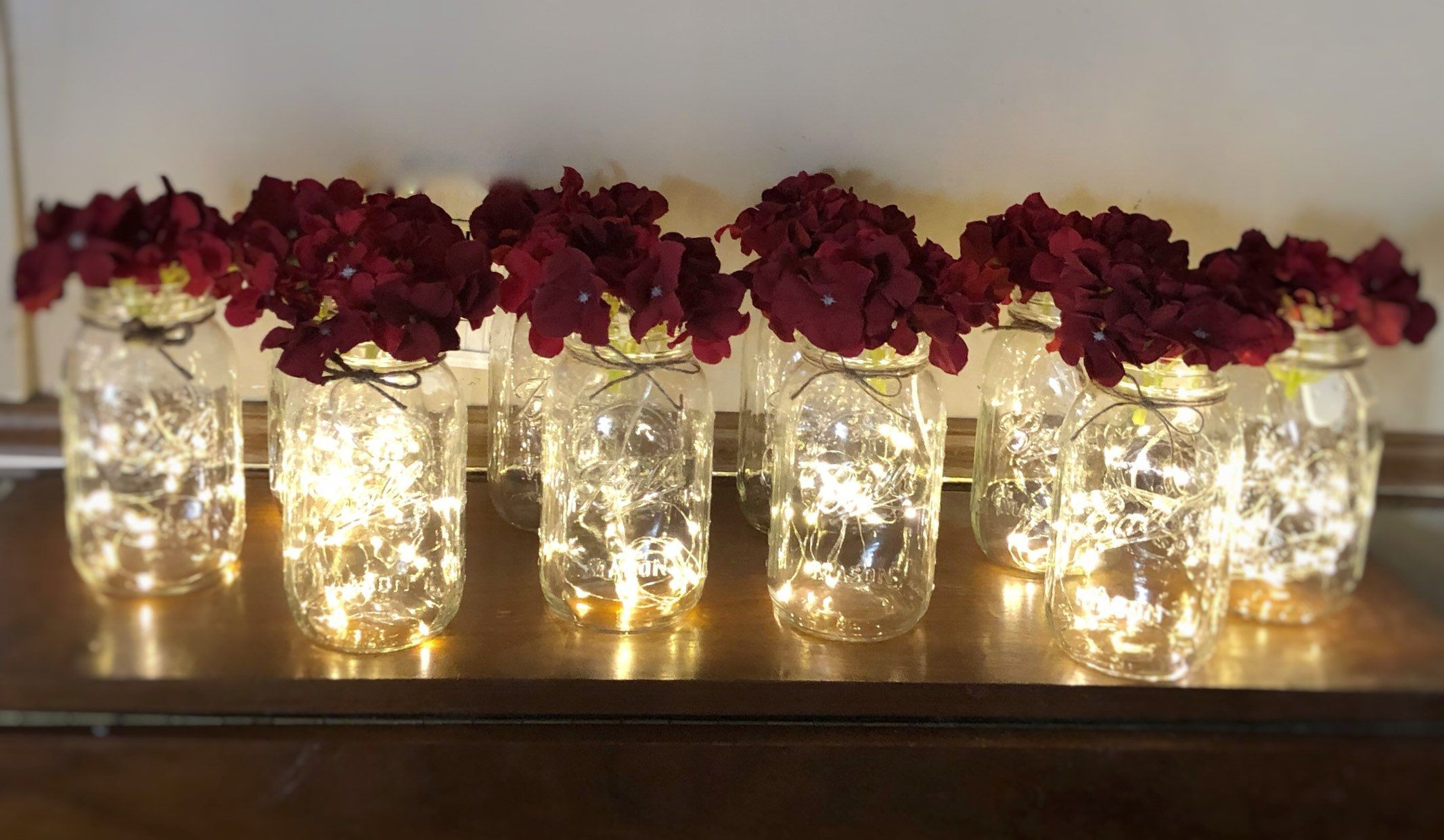 10 Floral Lights Mason Jar Centerpieces, Fairy Lights, Rustic Wedding Decorations, Baby Shower Decor, Country Party Decorations, Sweet 16 #fairylights