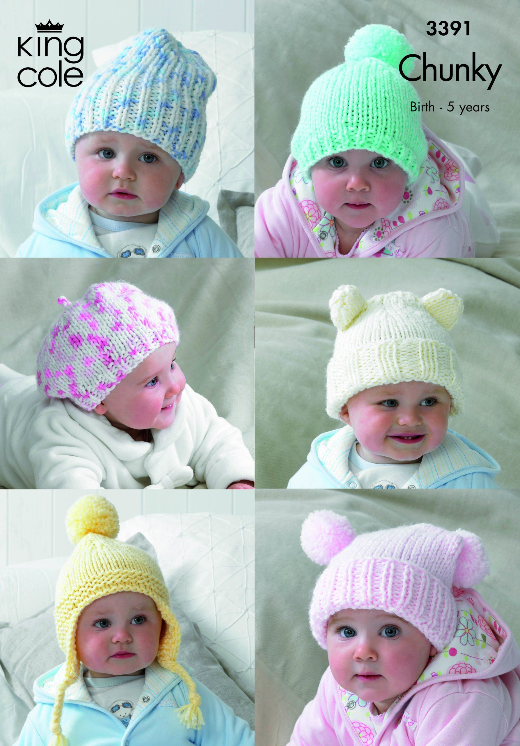 King Cole 6 Baby Hats Comfort Chunky Knitting Pattern 3391: Amazon ...