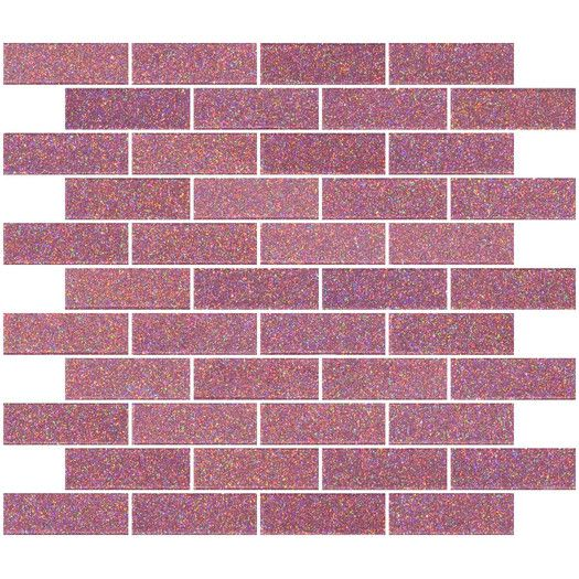 "SusanJablon 1"" x 3"" Glass Subway Tile in Pink 