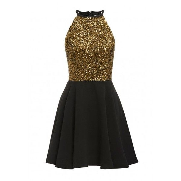 0e37097f01 SHEEN Clothing Lilli Gold Sequin Skater Dress in Black ❤ liked on Polyvore  featuring dresses