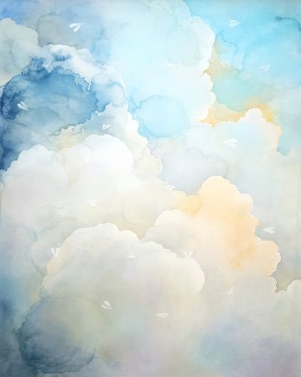 Migration Edging Forward Watercolor Clouds Sky Art