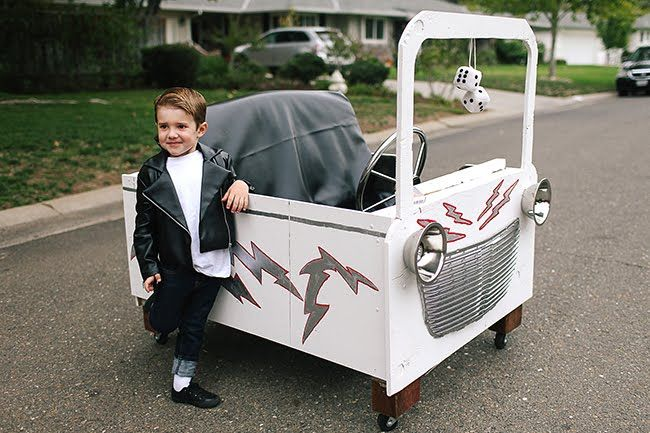Kids will flip when they get to wear this greaser costume and ride - halloween decorated cars