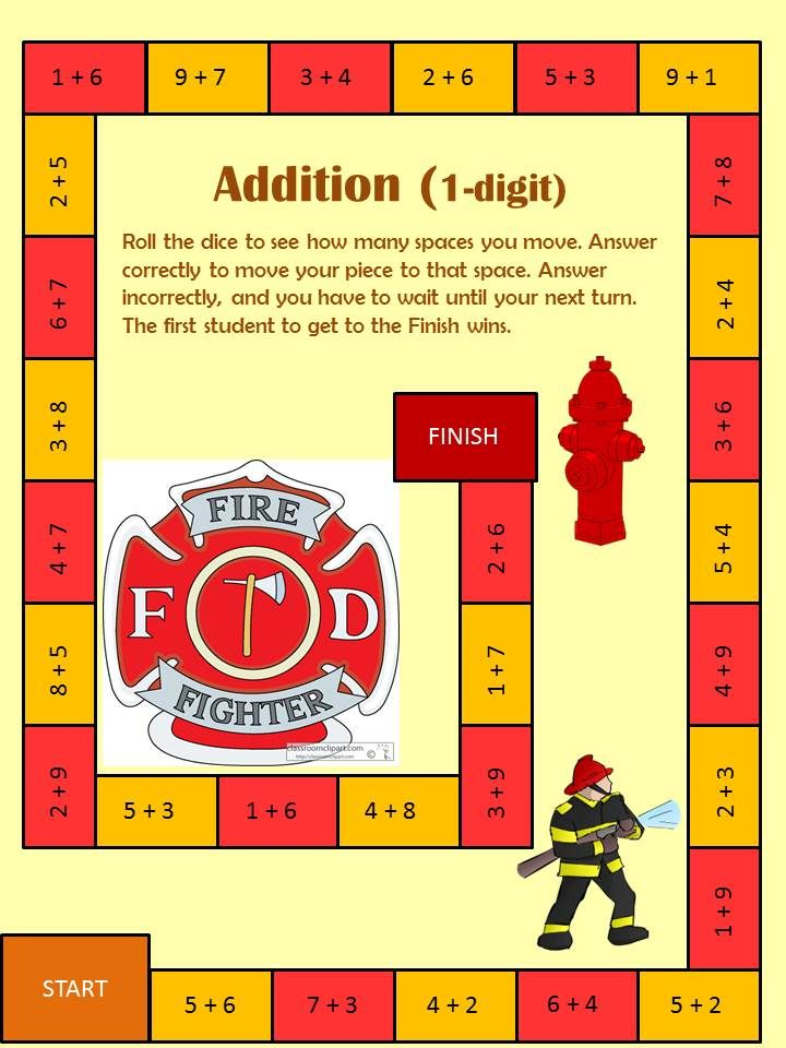Firefighter Themed Addition Games Addition games