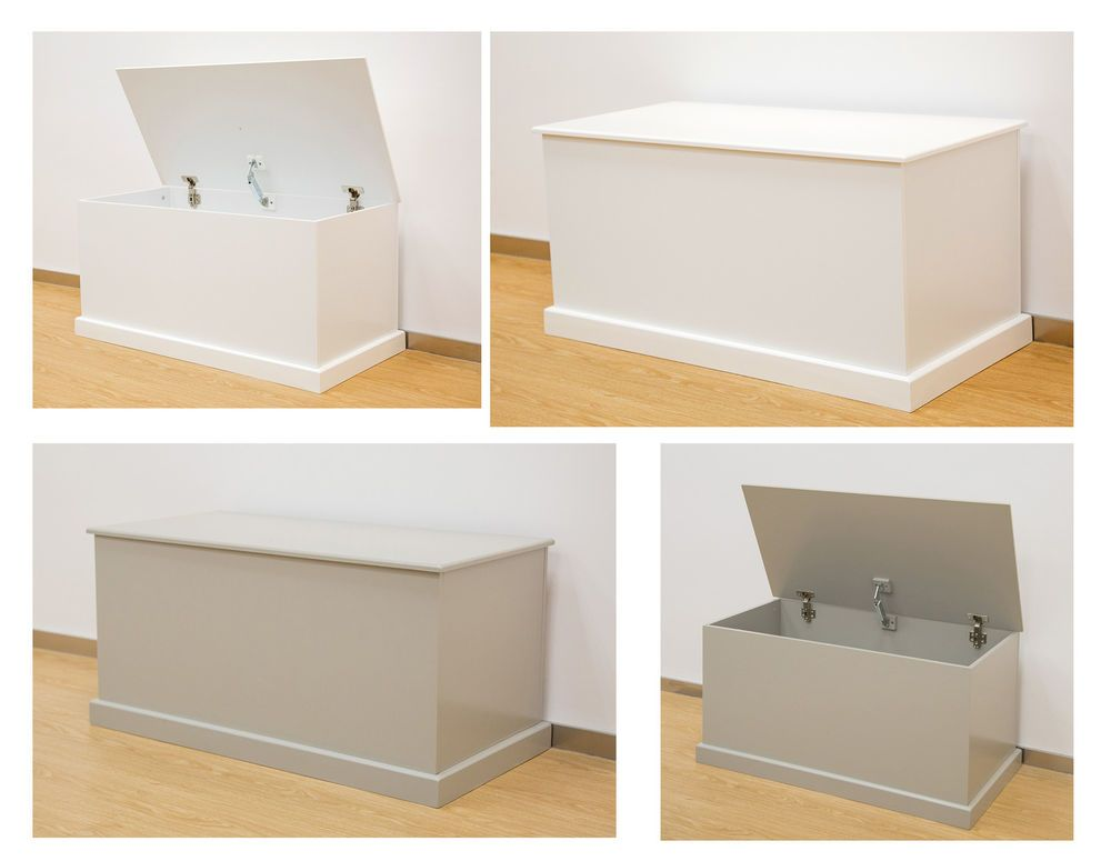 Large Wood Ottoman Storage Chest Trunk Blanket Box With Lid White