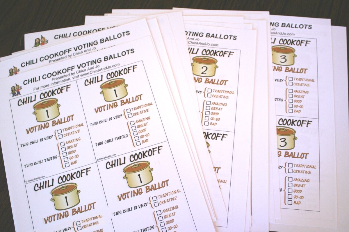 Chili Cook Off Voting Ballots
