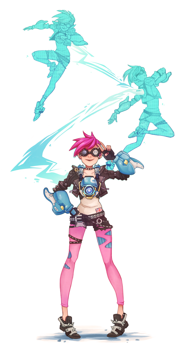 Cute fan art of Tracer from Overwatch in her punk skin