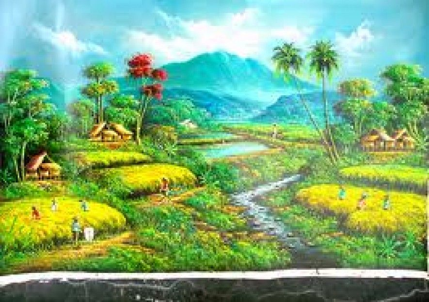 Lukisan Pemandangan Desa di Kaki Gunung Lukisan lanskap