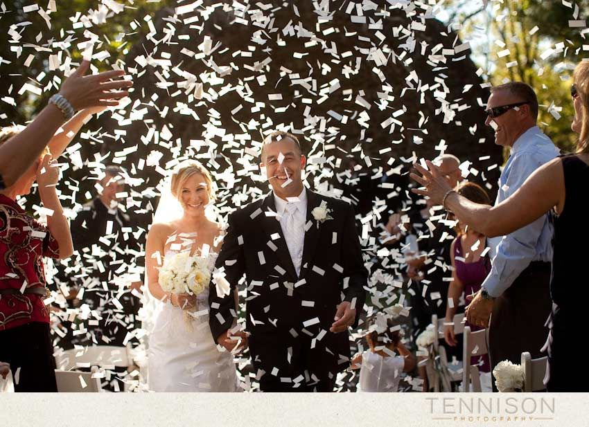 i like the idea of throwing paper as the couple walks down the isle