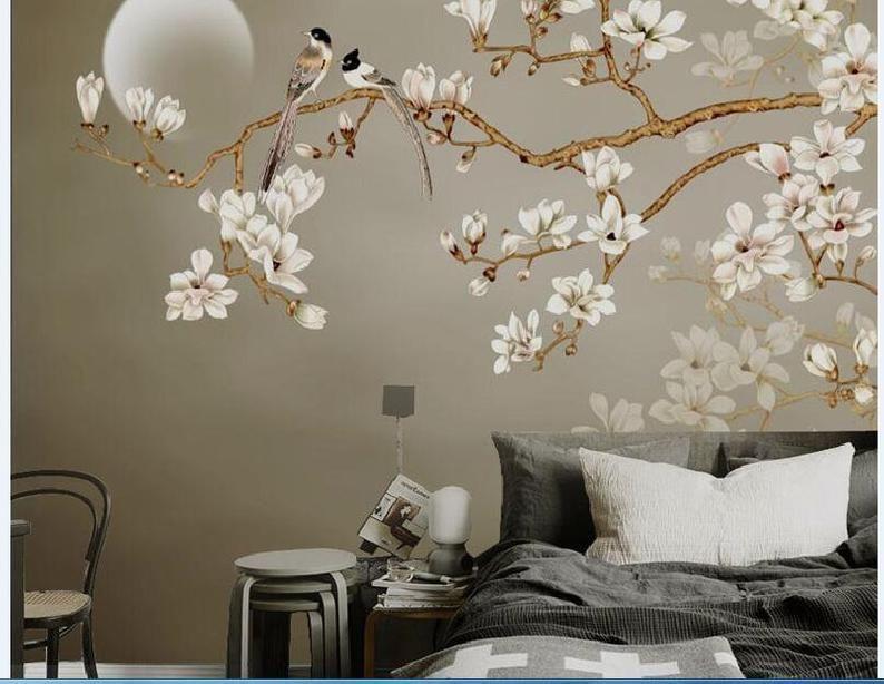 One Large Branch Tree White Flowers Wallpaper Wall Mural Etsy Tree Wallpaper Living Room Wallpaper Living Room Wall Wallpaper