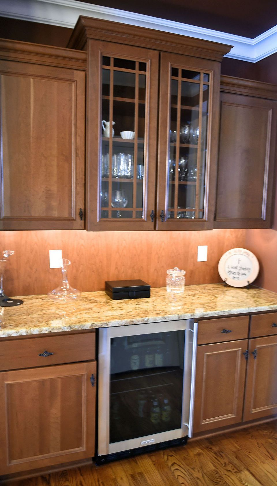 Butler S Pantry In Kitchen With Granite Countertop Mission Style Cabinetry And A Wine Chiller Kitchen Granite Countertops Home