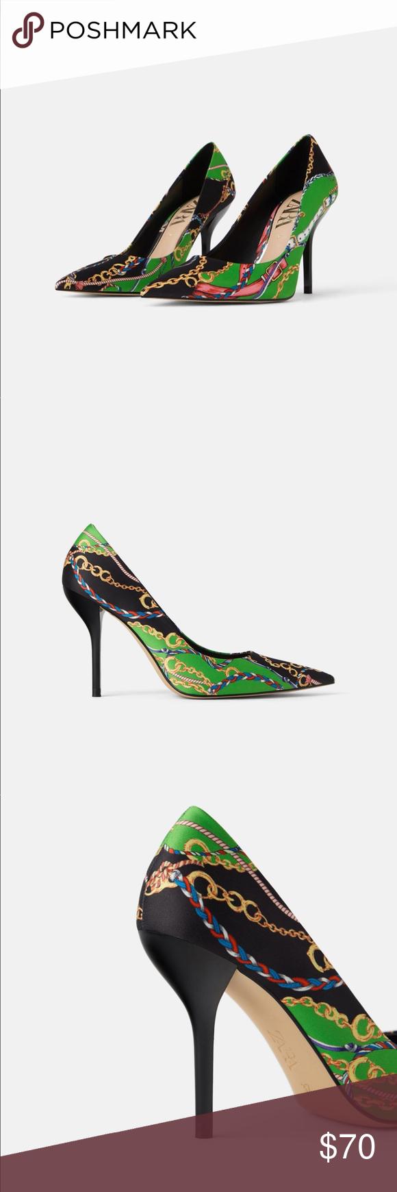 be0f6b094b3 💕Price is firm💕Zara shoes Chain printed high heeled shoes Heel ...