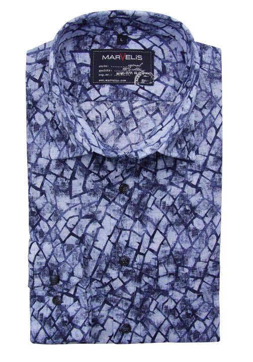 Marvelis Casual Fit Hemd Langarm New Kent Kragen Muster Blau Hemd Langarm Baumwollhemd