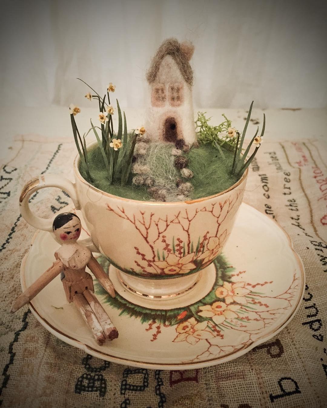 I Made A Little Cup Of Springtime Needlefelted Welshcottage  # Beestudio Muebles