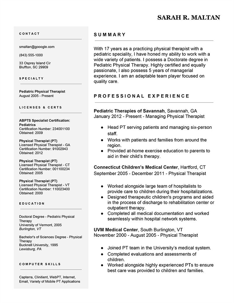 Resume Example | 7 Easy Ways To Improve Your Physical Therapist Resume