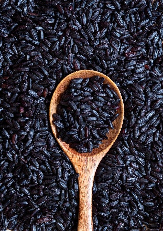 Black Rice with spoon
