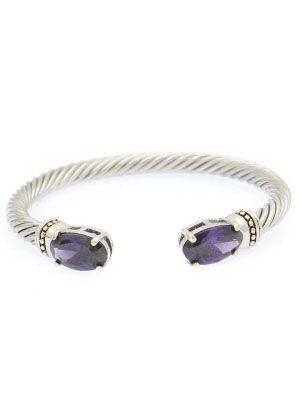 OVAL AMETHYST DOUBLET CABLE TEXTURED OPEN CUFF BRACELETS Wholesale jewelry fashion accessory
