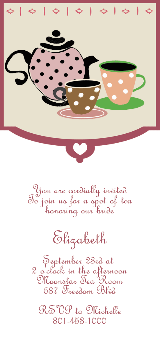 Tea Party Printable Invitation Template  High Tea Bridal Shower