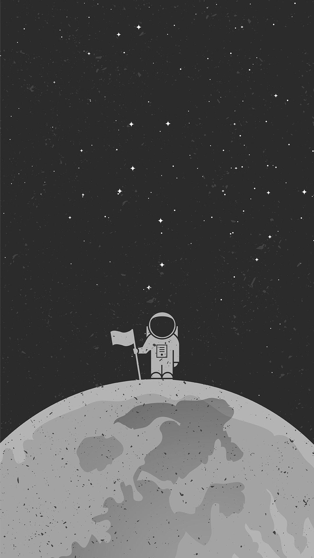 Man On The Moon Kertas Dinding Abstrak