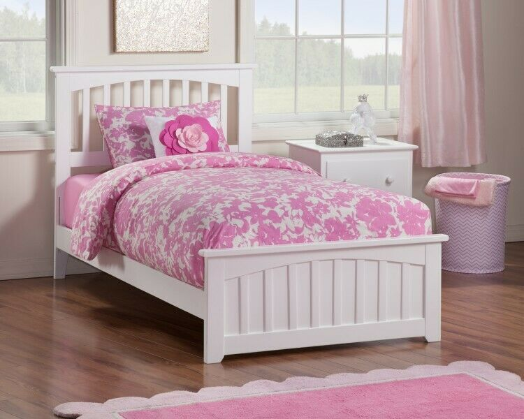 Details About Wooden Twin Xl Bed White Bedframe Bedstead Headboard