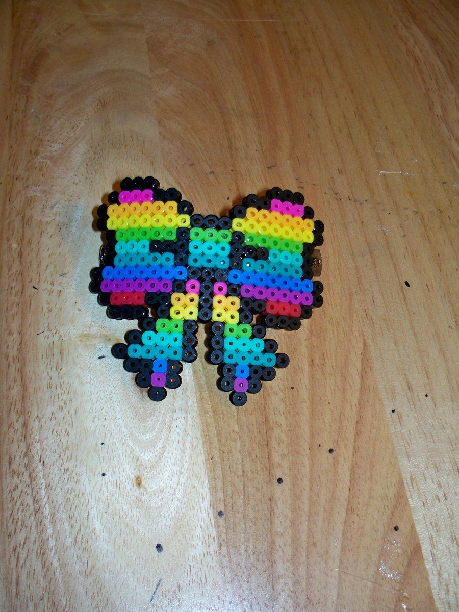 Perler rainbow bow hair clip by bangandbounce on