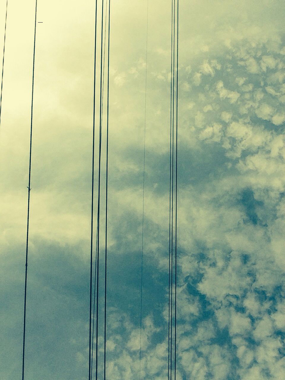 Sky and telephone wires. Filter on.