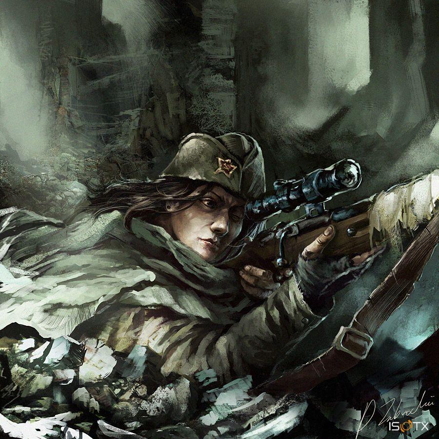 Soviet Female Sniper Sniper Art Military Wallpaper War Art