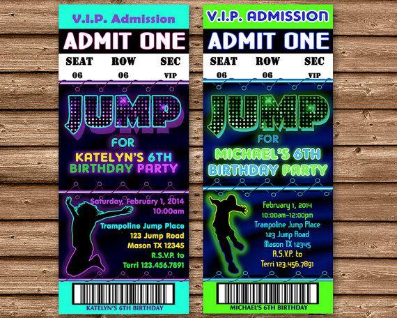 printable jump birthday invitation