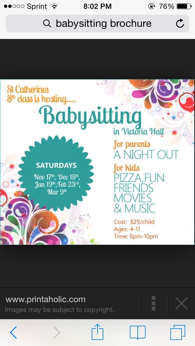 Carte De Visite Fundraising Babysitting Flyers Parent Night Babysitters Girl Scouts Ideas Fundraisers