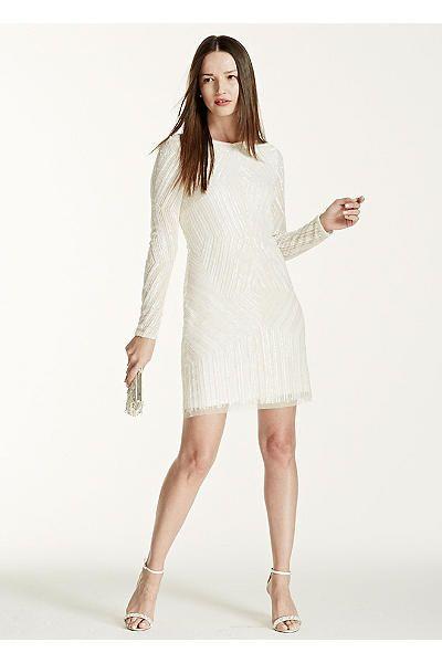 Deco Embellished Long Sleeve Short Dress 054459360 | Wedding Ideas ...