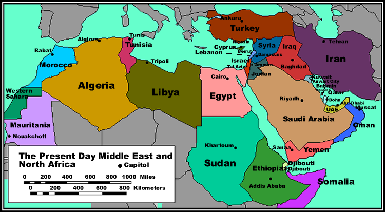 middle east and north africa political map | Social Studies