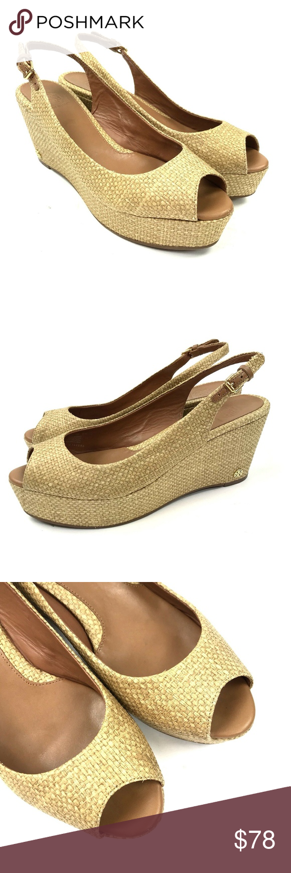 897a26cb986c Tory Burch Rosalind Wedge Platform Sandal Sz 8.5 Tory Burch Rosalind Tan  Natural Woven Slingback Wedge
