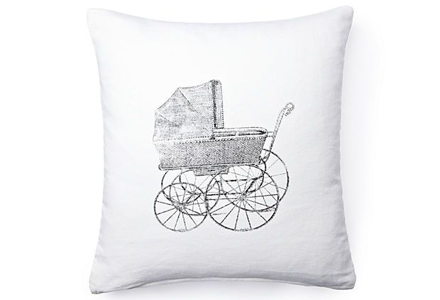 Baby Carriage Pillow, White on OneKingsLane.com FRENCH LAUNDRY HOME