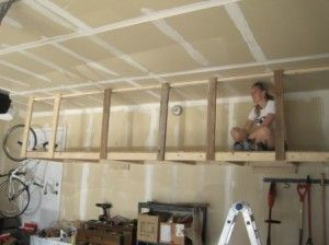build overhead hanging storage in your garage you can do. Black Bedroom Furniture Sets. Home Design Ideas