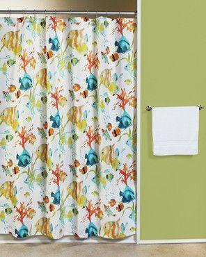 Rainbow Fish Fabric Shower Curtain Fabric Shower Curtains