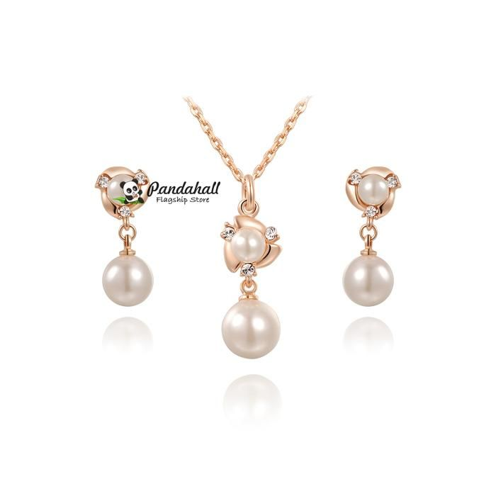 Pearl Flower Necklaces and Stud Earrings Jewelry Sets, with Czech from Pandahall Flagship Store on Aliexpress.com
