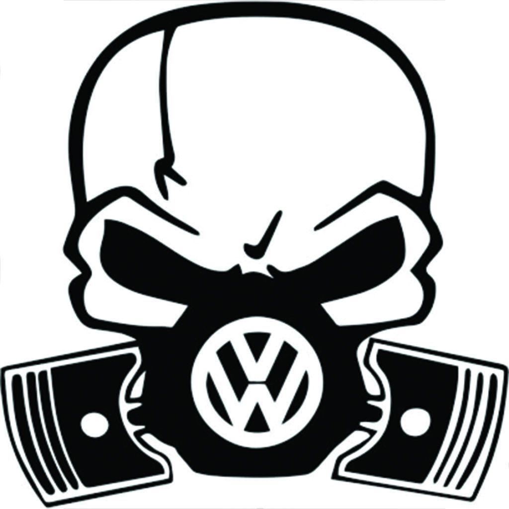 Vw volkswagen skull piston gas mask black vinyl decal sticker 5 5 inches