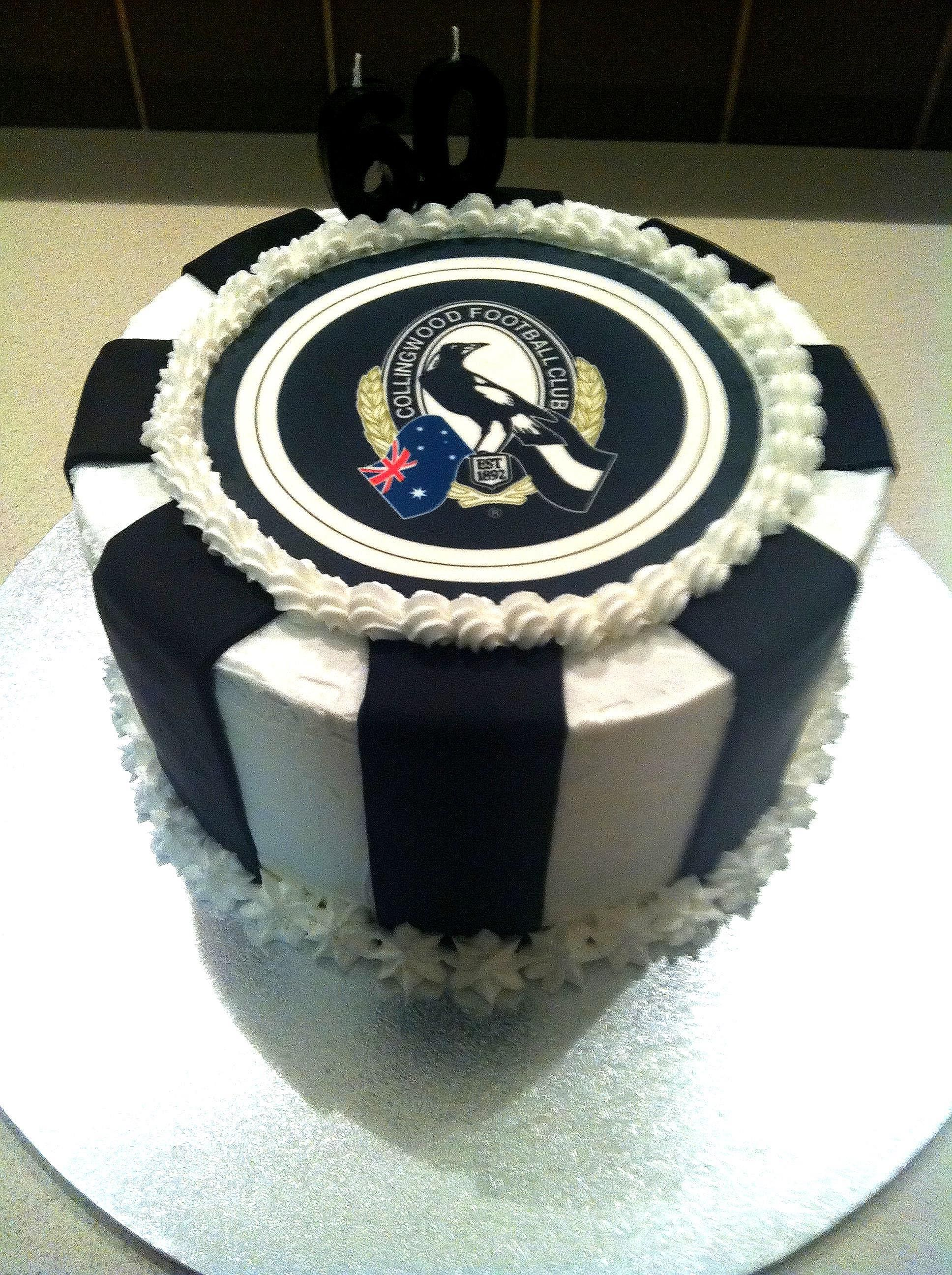 Afl collingwood cake mrs b cakes pinterest cakes