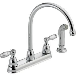 Delta Foundations 2 Handle Standard Kitchen Faucet With Side