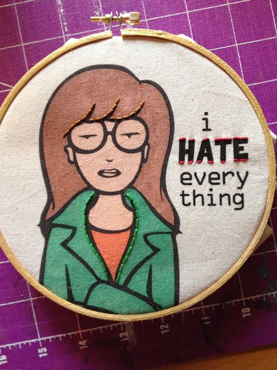 MTVs Daria Morgendorffer Beavis And Butt Head Spin Off I Hate Everything 6 Hand Embroidery Illustration By Koko Kreepies