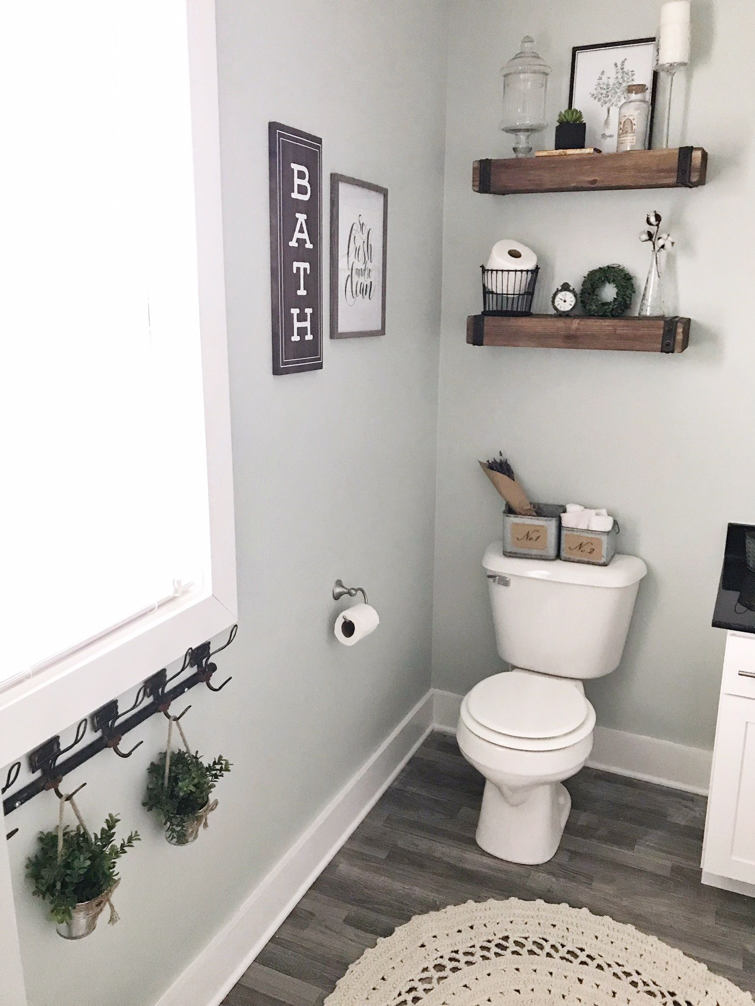 Wicker Basket Shabby Chic Ruffle Shower Curtain Modern Farmhouse Bathroom Sherwin Williams Sea Salt Clean Rustic Decor Cozy