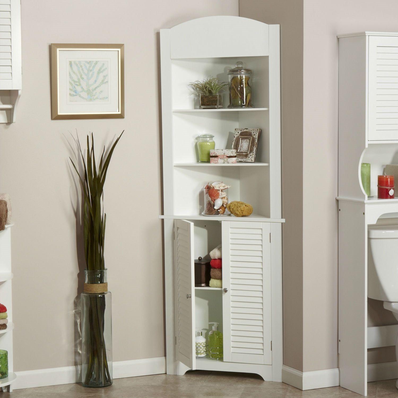 Bathroom Linen Tower Corner Storage Cabinet With 3 Open Shelves In White Corner Storage Cabinet Corner Storage Bathroom Linen Tower