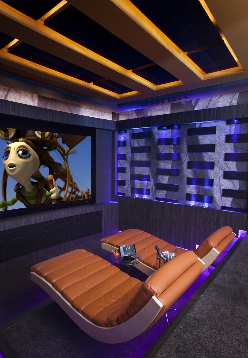 Blue Electrical Interior Home Cinema Design Ideas Room With Curve Chair  Some Theater Room Ideas That