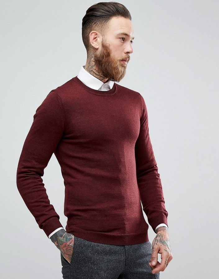 6f122312da00 Muscle Fit Merino Wool Sweater In Burgundy in 2019 | Father and Son ...