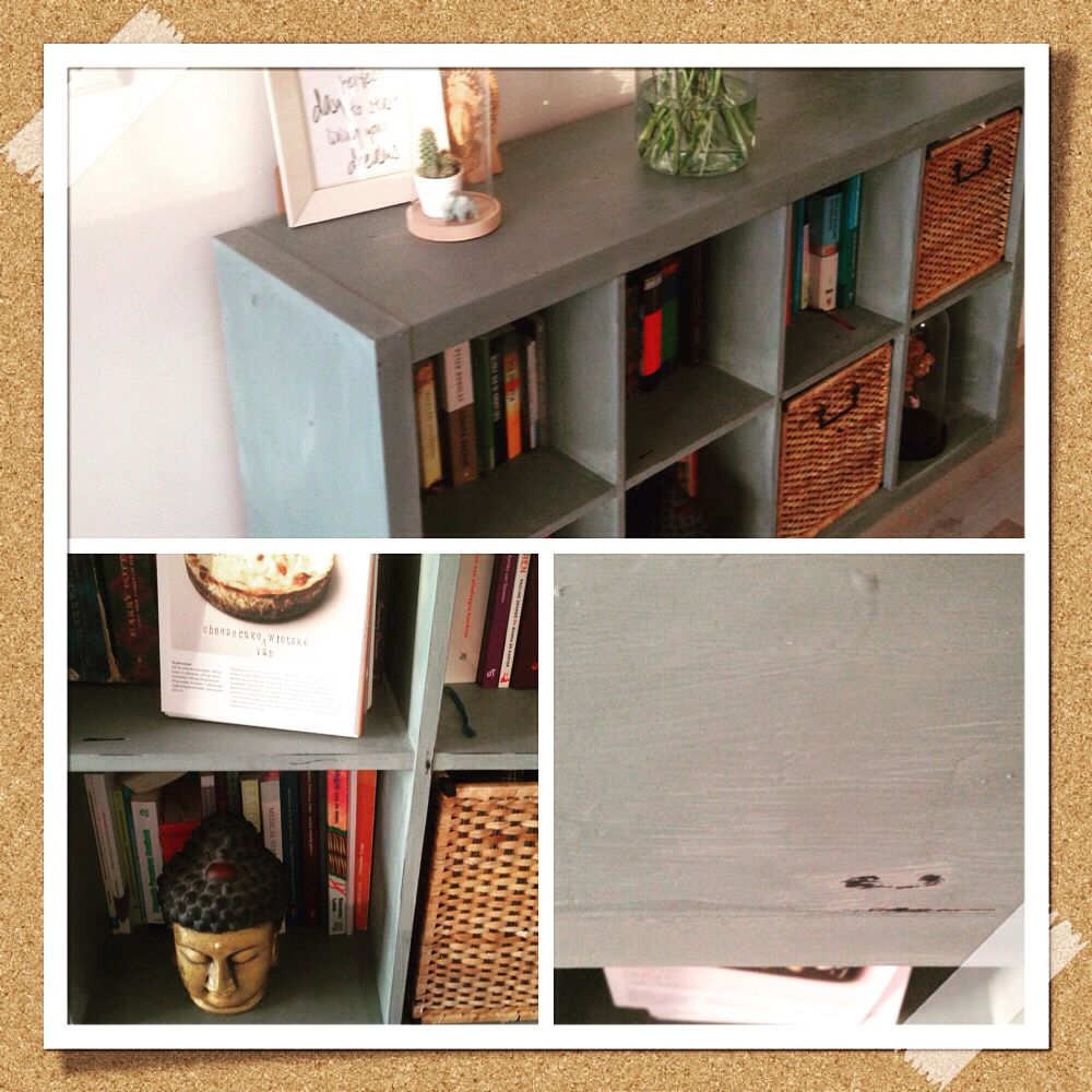 This Was A Black Ikea Expedit Now With Annie Sloan Duck Egg Blue And Distressing Paris Grey Diy Huis Kallax Ikea