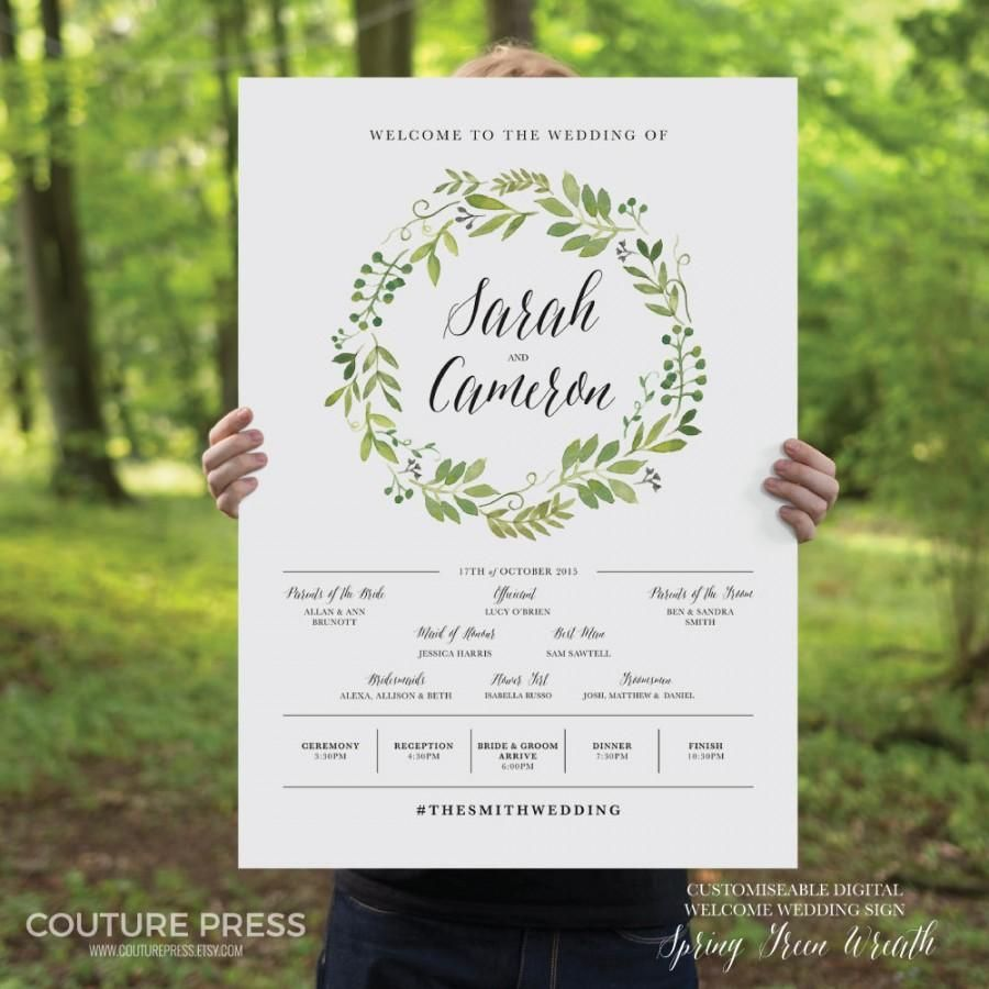 Printable Wedding Welcome Sign Watercolor Rustic Whimsical Diy Signage