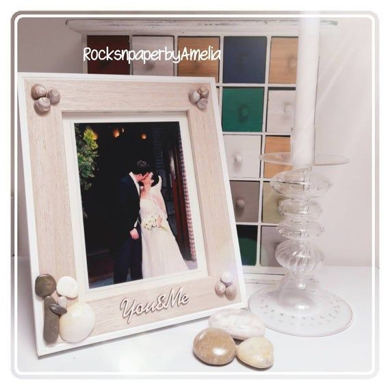 Unique Wedding Frame Decorated With Pebbles And Shells