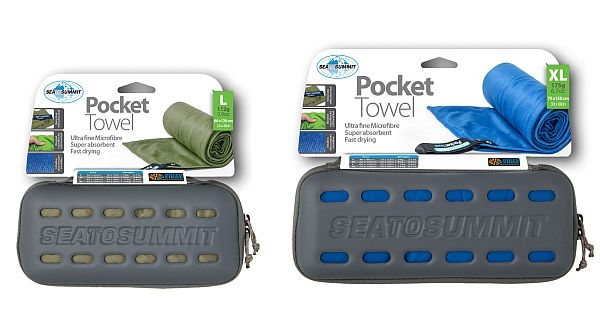 Review of the new Pocket Towel from Sea to Summit, which now comes with a ventilated zipper case for easy packing and retrieval, in four colors and sizes.