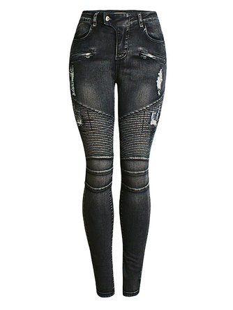 c053f20c936 Черная оболочка случайные разорвал Ombre / галстук-краситель узкие брюки  ноги | джинса in 2019 | Slim fit ripped jeans, Jeans, Pants